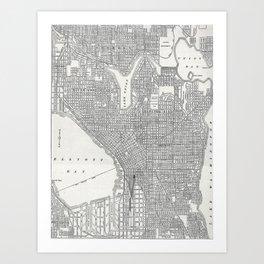 Vintage Seattle Map Art Print