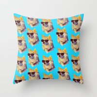 doge Throw Pillows featuring Polygonal Doge  by Michael Fortman