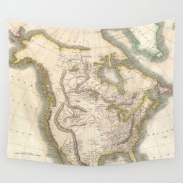 Vintage Map of North America (1814) Wall Tapestry