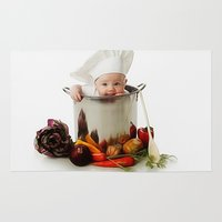 chef Area & Throw Rugs featuring Cute Cooking Chef by ShineShop