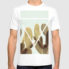Cactus geometry White MEDIUM Mens Fitted Tee