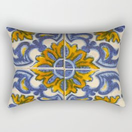 Blue tiles floral vintage Portuguese style Rectangular Pillow