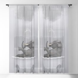 elephant relaxing in the bath Sheer Curtain