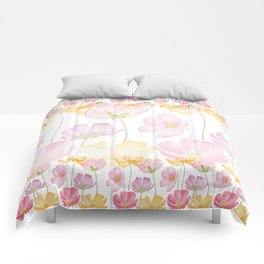 colorful cosmos flower Comforters