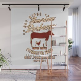 American Barbecue Pitmaster BBQ Wall Mural
