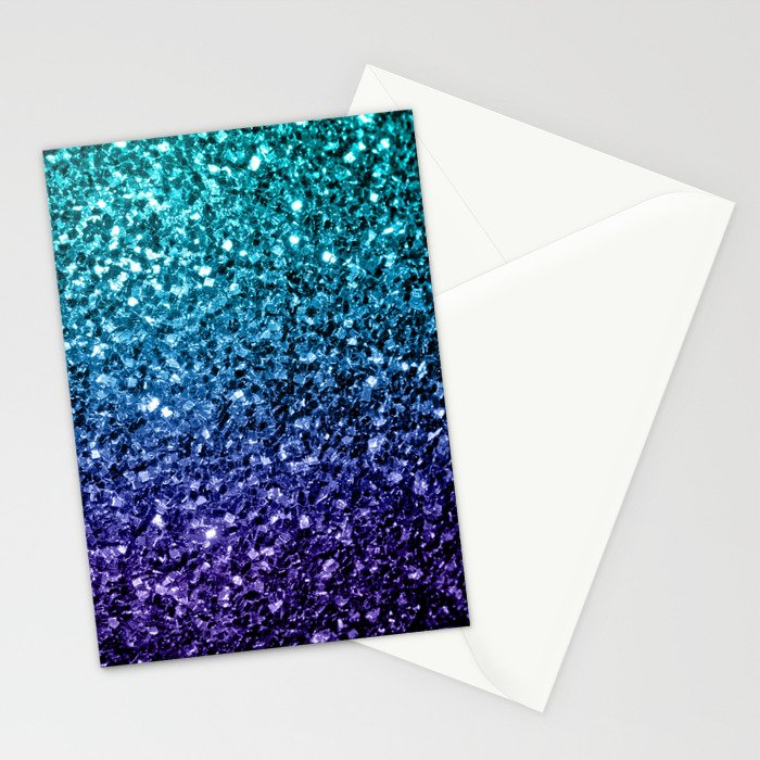 Beautiful Aqua blue Ombre glitter sparkles Stationery Cards