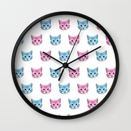 Pinka nd Blue Cats Wall Clock
