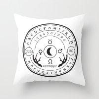 ouija Throw Pillows featuring Ouija by ANOMIC DESIGNS