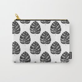 Monstera Leaf | Black and White Carry-All Pouch