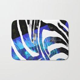 Blue And Black Abstract Zebra Art - Sharon Cummings Bath Mat