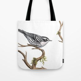 Black-and-White Warbler (Mniotilta varia) Tote Bag