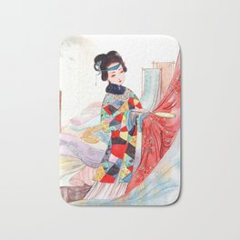 Watercolor Chinese Classic Beauty Bath Mat