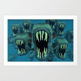 Piranhas Underwater Fish Art Print