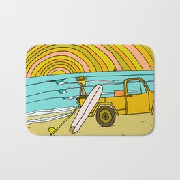 classic summer surf vibes forever Bath Mat