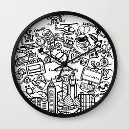I want a doodle fly in Hong Kong Wall Clock