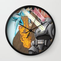 superheros Wall Clocks featuring SuperHeros SF by Timo Hanley
