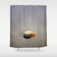 seashell Shower Curtains featuring Seashell by Maria Heyens