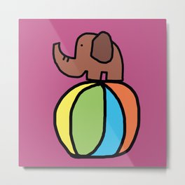 Little Elephant with Ball Metal Print