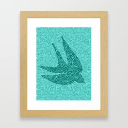 Japanese Swallows in Flight, Turquoise and Aqua Framed Art Print