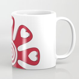 isolated fabric red flower with hearts on leaf  Coffee Mug
