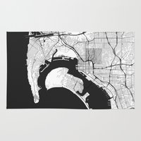 san diego Area & Throw Rugs featuring San Diego Map Gray by City Art Posters