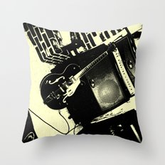 Shockin' White Light Guitar Throw Pillow