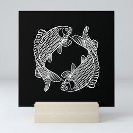 Black White Koi Minimalist Mini Art Print