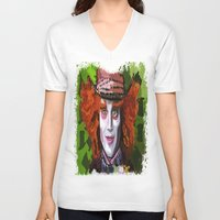 mad hatter V-neck T-shirts featuring Mad Hatter by grapeloverarts