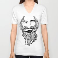 beard V-neck T-shirts featuring Beard  by Holly Harper