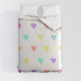 Cute Pastel Rainbow Hearts Pattern Comforters