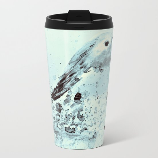 Robin in blue Metal Travel Mug