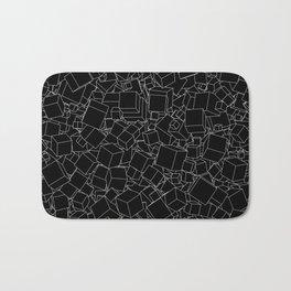 Cubic B&W inverted / Lineart texture of 3D cubes Bath Mat