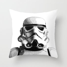 Stormtrooper Hand Drawn Dotwork - StarWars Pointillism Artwork Throw Pillow