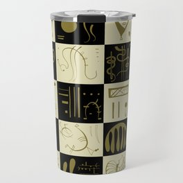 Kandinsky - Black and Gold Pattern - Abstract Art Travel Mug