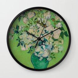 Copy of Vincent van Gogh Roses Floral Green Wall Clock