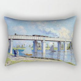Claude Monet - Railway Bridge Rectangular Pillow