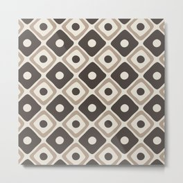 Mid Century Modern Diamond Dot Pattern 777 Beige and Gray Metal Print