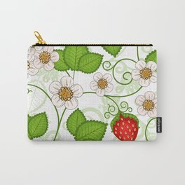 Strawberry fruit leaf flower floral star green red white Carry-All Pouch