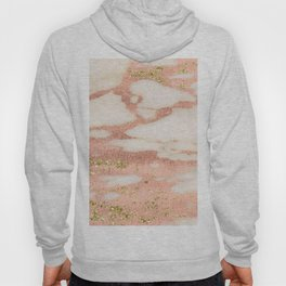 Marble - Rose Gold Shimmer Marble with Yellow Gold Glitter Hoody