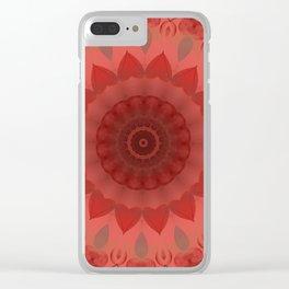 Dark Coral Red Mandala Design Clear iPhone Case