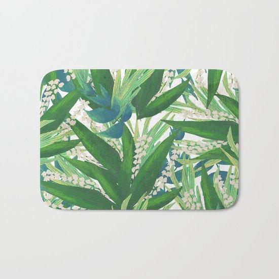 Tropical Leaves Pattern Bath Mat