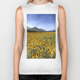 Sunflower Summer Field Biker Tank