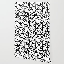 Interlocking Black Star Polygon Shape Design Wallpaper