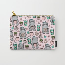 Cute Little Hippo, Hippopotamus, Donuts and Coffee, Pink Print For Girls, Little Girls, Tween Girls Carry-All Pouch