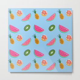 TROPICAL FRUITS BLUE Metal Print