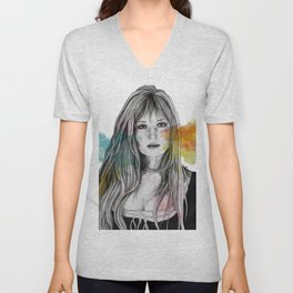 Monica (sexy pencil portrait of Monica Vitti) Unisex V-Neck