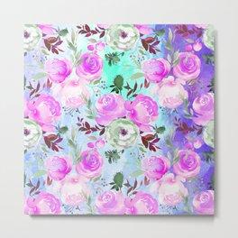 Blush pink lilac lavender teal watercolor roses pattern Metal Print