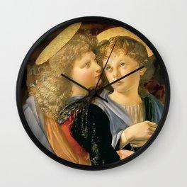 """Andrea del Verrocchio and Leonardo da Vinci """"Baptism of Christ"""" - angels Wall Clock"""