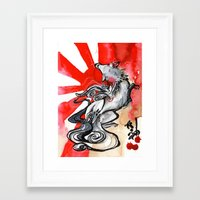 okami Framed Art Prints featuring OKAMI by Rubis Firenos