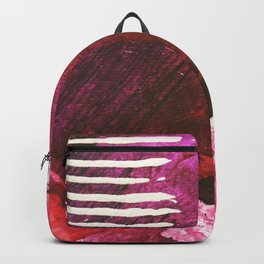 You set me on fire: a vibrant, colorful mixed media piece in red, purple, black and white Backpack